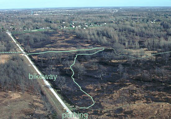 aerial view of nature reserve trail after spring burn